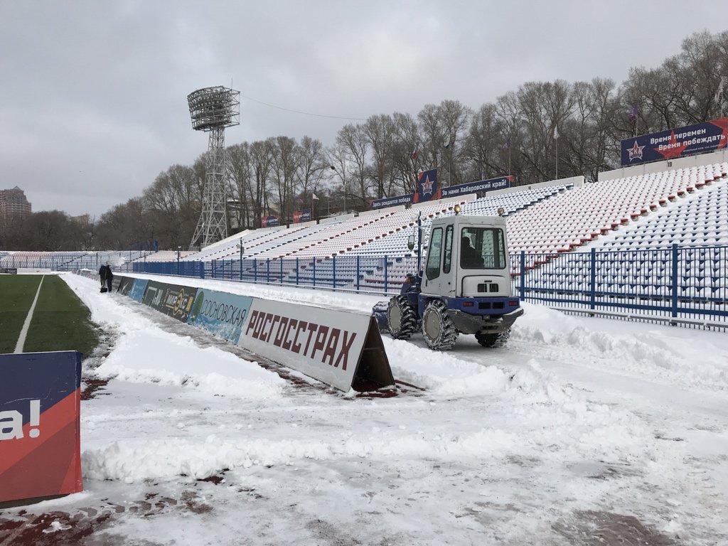 Футбол по-русски: вдень матча «СКА-Хабаровск»— ЦСКА предполагается сильный мороз